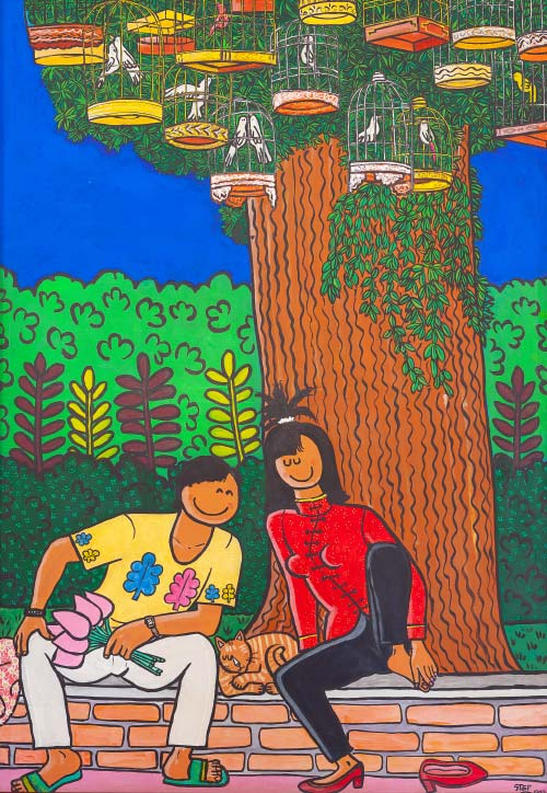 Lovers under a Tree with Birds Cages 138x200cm