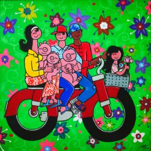 Happy Family with Pigs on the Moto by Stef