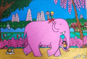 Kids on a pink elephant