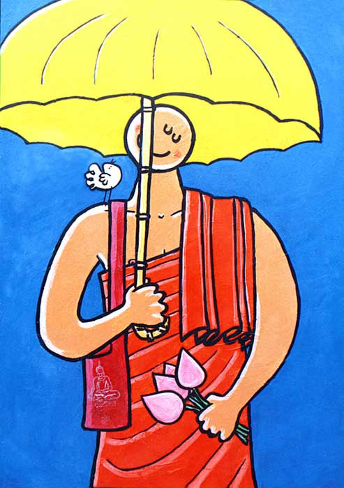 Monk with umbrella by Stef