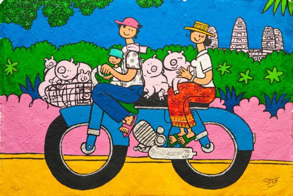 Moto with Pigs by Stef
