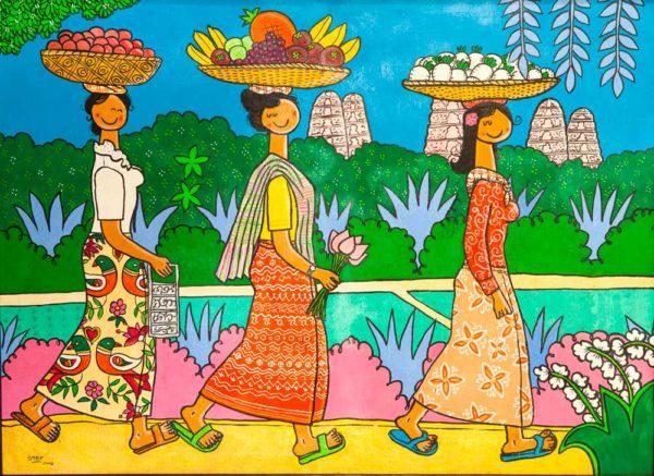Three walking sellers